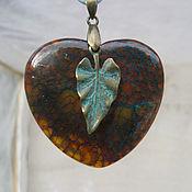 Украшения handmade. Livemaster - original item Agate dragon Heart pendant with leaf. Handmade.