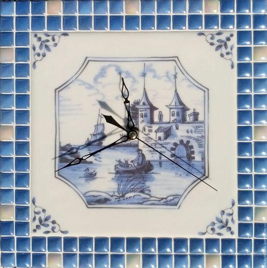 """Часы для дома ручной работы. Ярмарка Мастеров - ручная работа. Купить Часы с мозаикой """"Английский делфт 2"""". Handmade."""