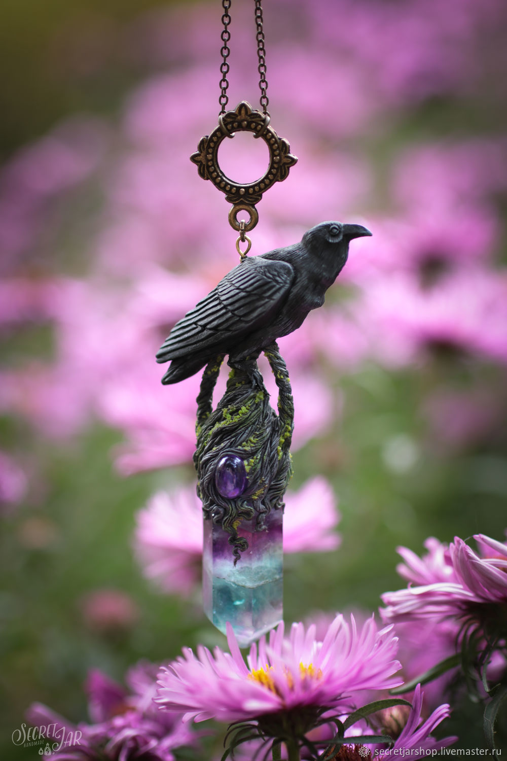 Raven hill pendant with a fluorite crystal, Pendants, Moscow,  Фото №1