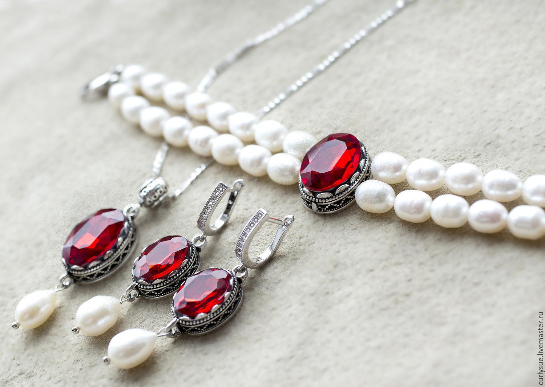 Комплект из натурального жемчуга с красными кристаллами, Браслеты, Черкассы, Фото №1