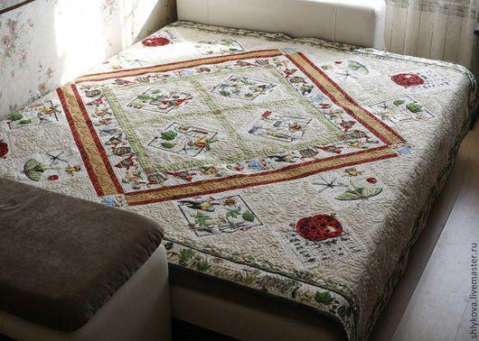 """Текстиль, ковры ручной работы. Ярмарка Мастеров - ручная работа. Купить покрывало """"Букашки"""". Handmade. Одеяло, лоскутное шитье, пэчворк"""