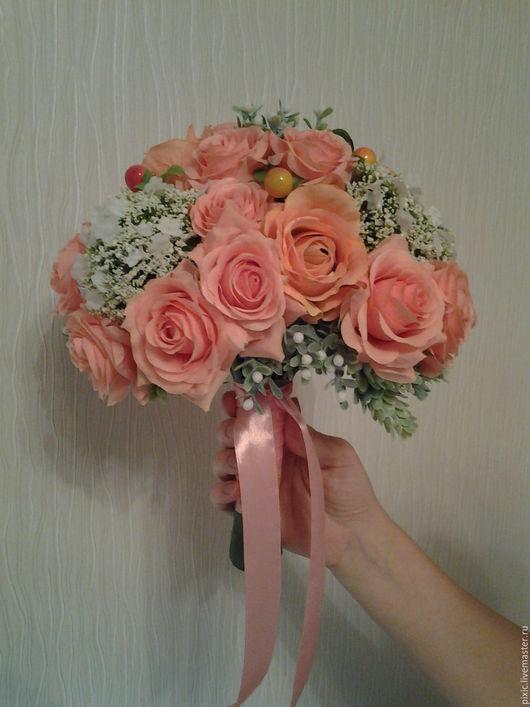 Свадебные цветы ручной работы. Ярмарка Мастеров - ручная работа. Купить Персиковое облако. Handmade. Букет невесты, искусственные цветы