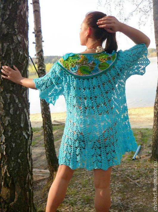 """Пляжные платья ручной работы. Ярмарка Мастеров - ручная работа. Купить Вязаное платье """"Лесное озеро"""". Handmade. Бирюзовый"""