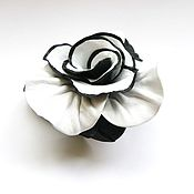 Украшения handmade. Livemaster - original item Brooch flower leather rose Contrast black - and-white. Handmade.
