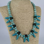 Украшения handmade. Livemaster - original item Necklace of natural stones of amazonite, agate and howlite