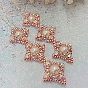 handmade. Livemaster - original item Earrings: long pink Lozenges. Handmade.
