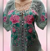 """Одежда ручной работы. Ярмарка Мастеров - ручная работа Блуза вышитая """"Розовые розы"""" L-XL. Handmade."""