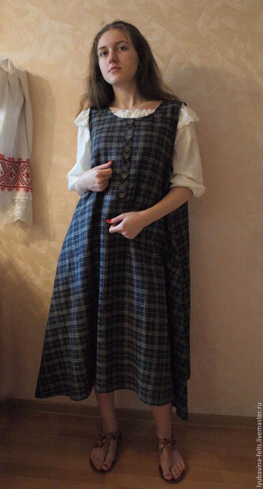 Платья ручной работы. Ярмарка Мастеров - ручная работа. Купить Платье сарафан из льна Арт.05, темно-синее вклетку расклешенное. Handmade.