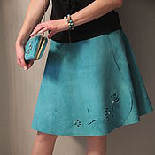 Одежда handmade. Livemaster - original item Skirt and clutch from suede turquoise. Handmade.