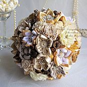 Свадебный салон handmade. Livemaster - original item Wedding brooch bouquet in beige and gold colours with cinnamon. Handmade.