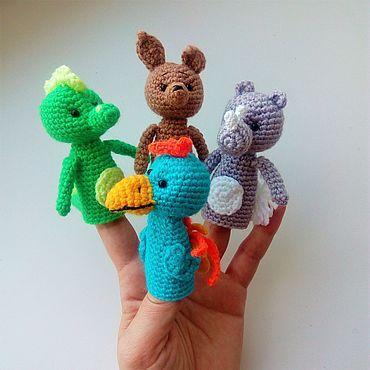 Куклы и игрушки ручной работы. Ярмарка Мастеров - ручная работа Пальчиковые игрушки Зоопарк Попугай Носорог Крокодил Кенгуру. Handmade.