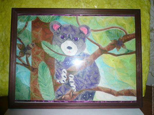 Вышивка в технике изонить Мишка на дереве.