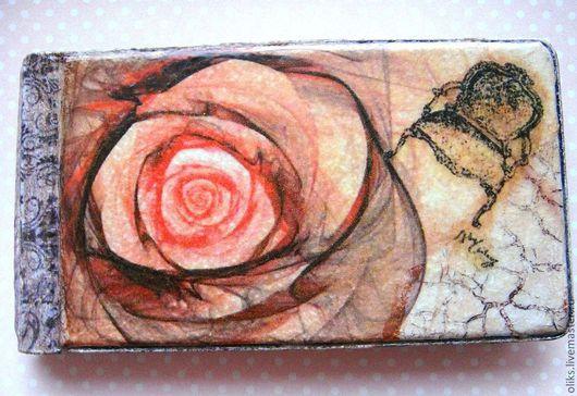 Кошельки и визитницы ручной работы. Ярмарка Мастеров - ручная работа. Купить Визитница (или для карточек со скидками) Винтажная   роза. Handmade.