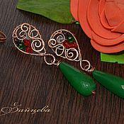 Украшения handmade. Livemaster - original item Copper Oasis long earrings, long earrings Eastern green. Handmade.