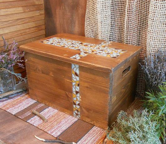 Большой деревянный короб с крышкой(ларь). Сундук для хранения. Сундук деревянный купить.Мозаика из стекла. ` LedaksDecor` -для уютного дома!