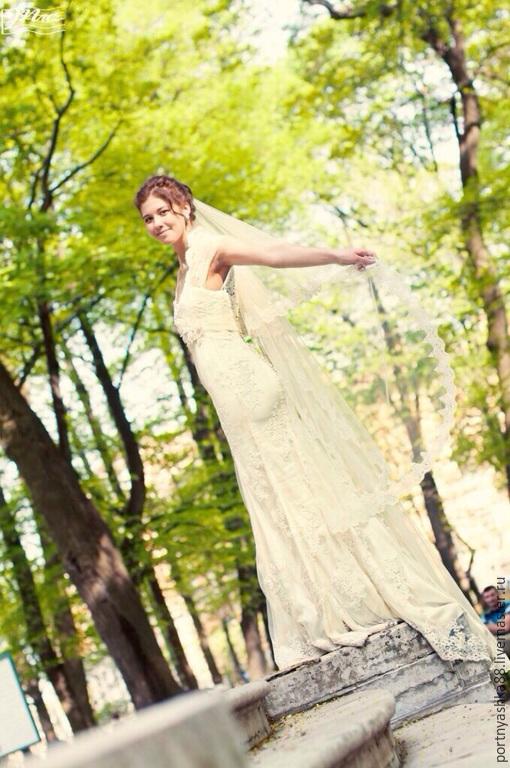 Одежда и аксессуары ручной работы. Ярмарка Мастеров - ручная работа. Купить Свадебное платье. Handmade. Белый, застежка на пуговицы, ригелин