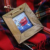 """Картины и панно ручной работы. Ярмарка Мастеров - ручная работа Вышивка """"Лодка.Чайки"""". Handmade."""
