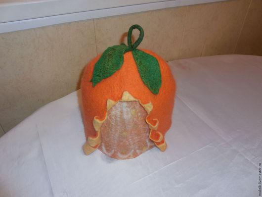 """Банные принадлежности ручной работы. Ярмарка Мастеров - ручная работа. Купить """"Апельсин"""" шапка для бани и сауны. Handmade. Оранжевый, подарок"""