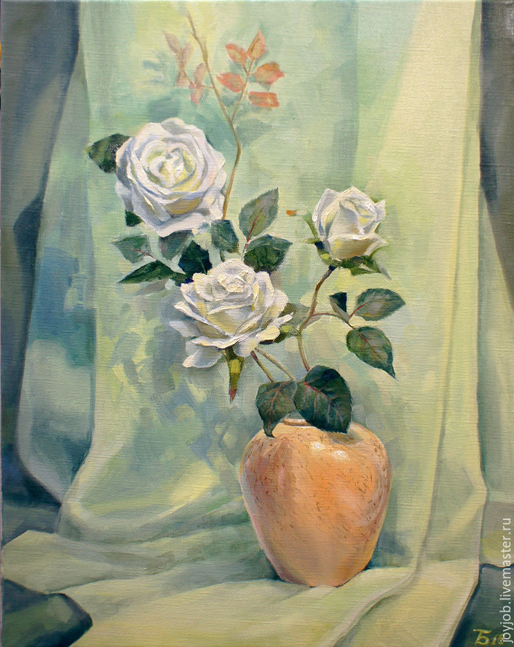 Картина маслом Белые розы, Картины, Ижевск, Фото №1