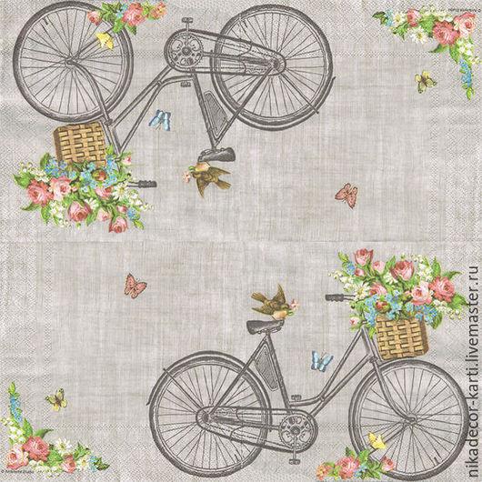 Декупаж и роспись ручной работы. Ярмарка Мастеров - ручная работа. Купить Робин на велосипеде (113308975) - салфетка для декупажа. Handmade. Разноцветный