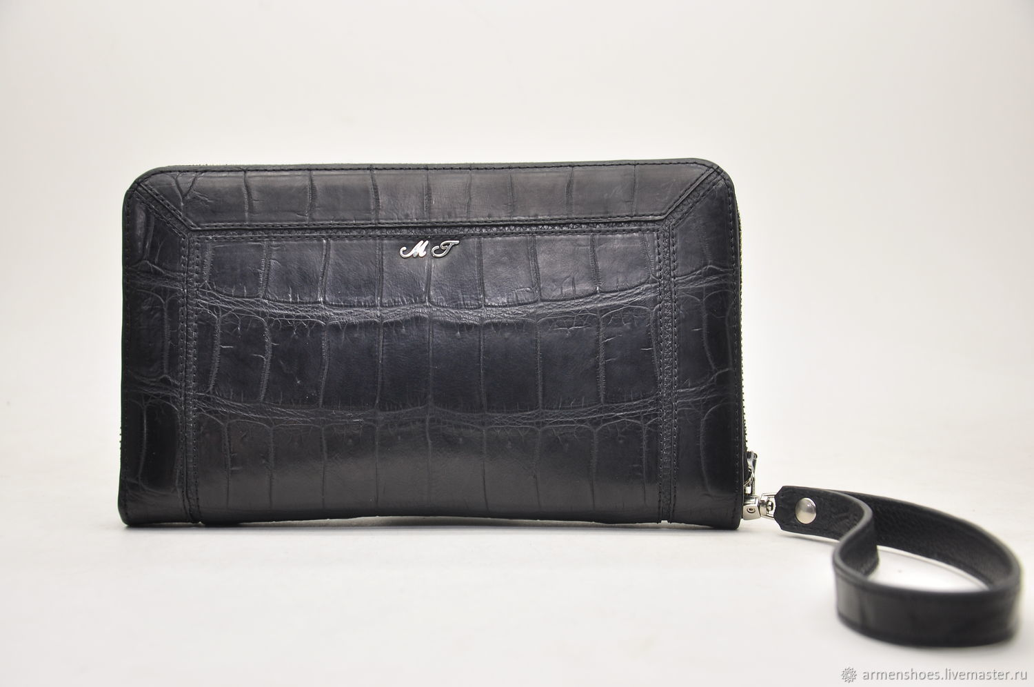Men's crocodile leather clutch, designer model, Clutches, Tosno,  Фото №1