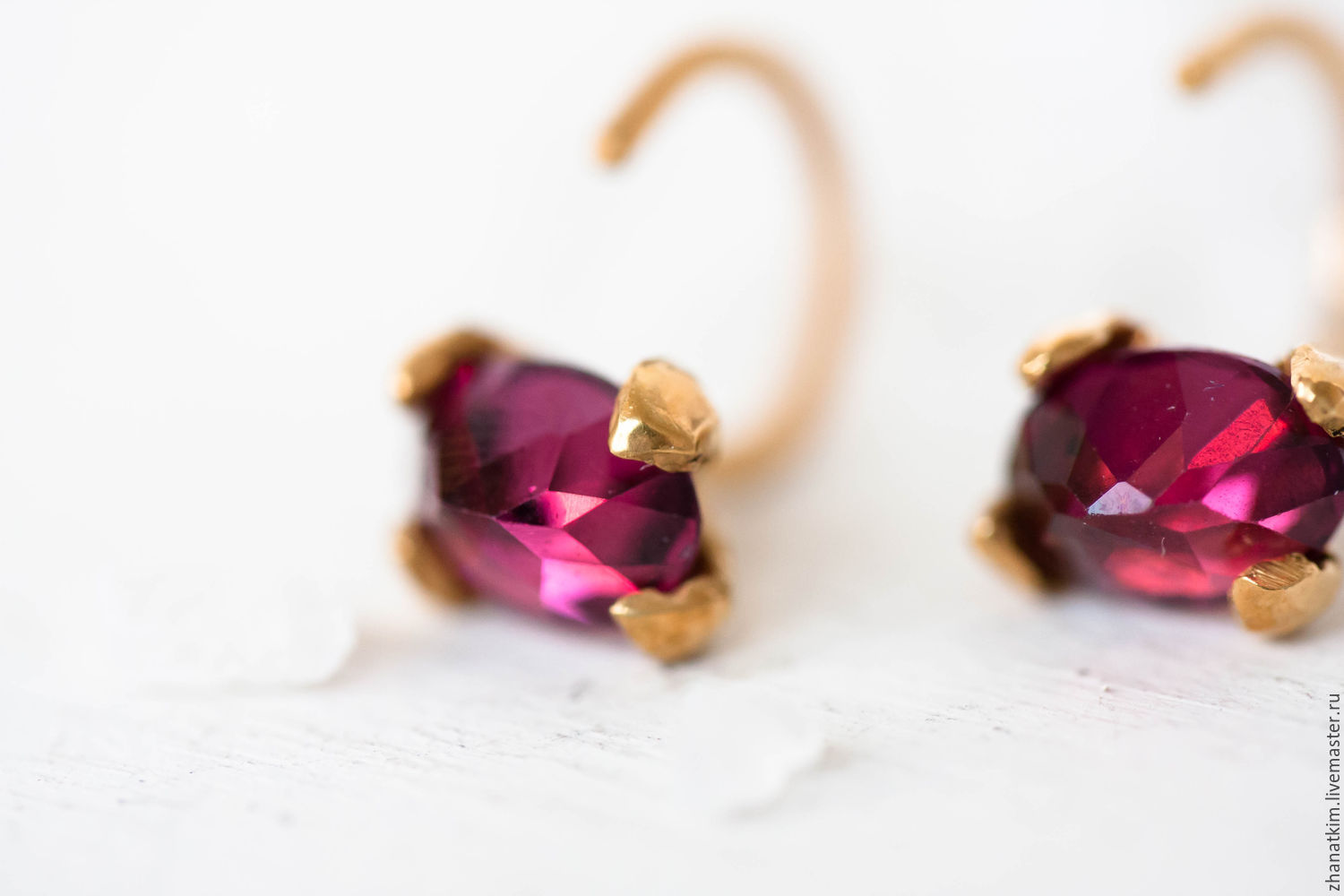 Earrings Handmade Livemaster Gold With Garnet Vermeil Studs