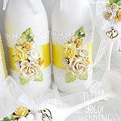 Свадебные свечи ручной работы. Ярмарка Мастеров - ручная работа Бутылки свадебные Солнышко. Handmade.