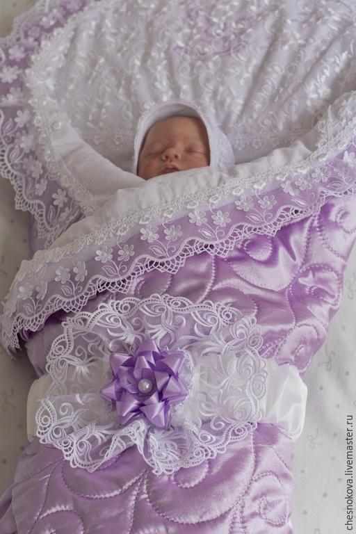 """Для новорожденных, ручной работы. Ярмарка Мастеров - ручная работа. Купить Одеяло на выписку для новорожденного""""нежная сирень"""". Handmade. Сиреневый"""