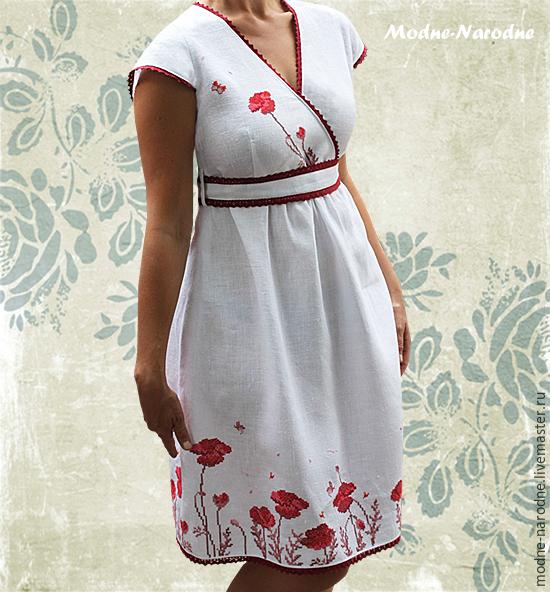 3a39ec3a215 Дизайнерские платья МАКОВОЕ ПОЛЕ Белое платье с вышивкой Красные маки  Красно-белое платье Вышитые платья ...