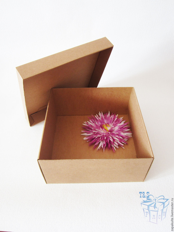 Крафт коробка 25х25х12, крышка дно, куб, гифт боксы, подарочный, Коробки, Москва,  Фото №1