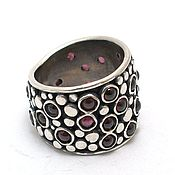 Украшения handmade. Livemaster - original item Silver ring with garnet Stained glass. Handmade.