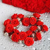 """Украшения ручной работы. Ярмарка Мастеров - ручная работа """"Алые розы"""" браслет. Handmade."""