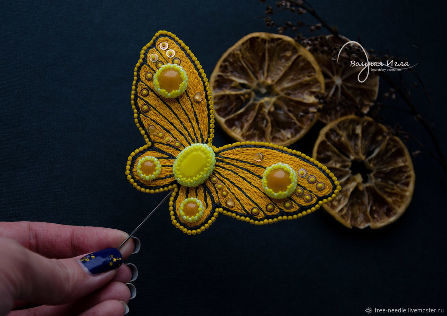 Embroidered butterfly brooch'Yellow madness,boho,cabochons, Brooches, Pushkin,  Фото №1