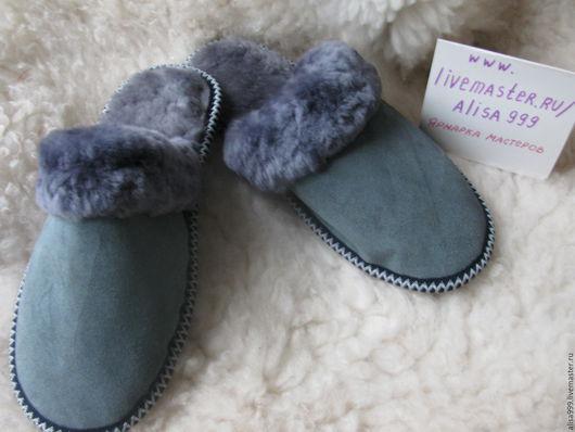 Обувь ручной работы. Ярмарка Мастеров - ручная работа. Купить Мужские замшевые тапочки из овчины. Handmade. Мужские меховые тапочки