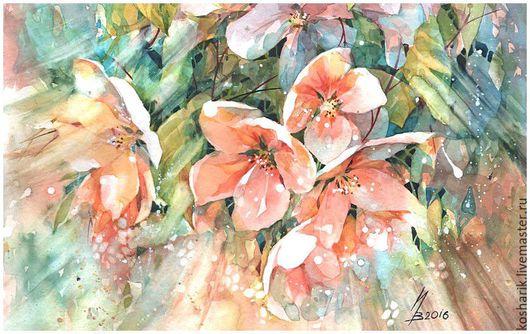 Картины цветов ручной работы. Ярмарка Мастеров - ручная работа. Купить весной. Handmade. Комбинированный, акварель, подарок, акварельная бумага