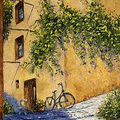 Картины и панно handmade. Livemaster - original item Oil painting a Bike on the corner. Handmade.