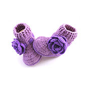Работы для детей, handmade. Livemaster - original item booties boots, booties for girls, knitted booties, purple. Handmade.