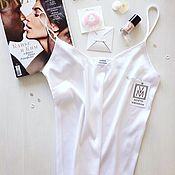 Tops handmade. Livemaster - original item Basic white crop top underwear style satin silk. Handmade.