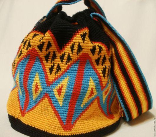 Женские сумки ручной работы. Ярмарка Мастеров - ручная работа. Купить Вязаная сумочка Геометрия в  цвете. Handmade. Оранжевый