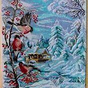 """Картины ручной работы. Ярмарка Мастеров - ручная работа Вышитая картина """"Зима.Снегири"""". Handmade."""