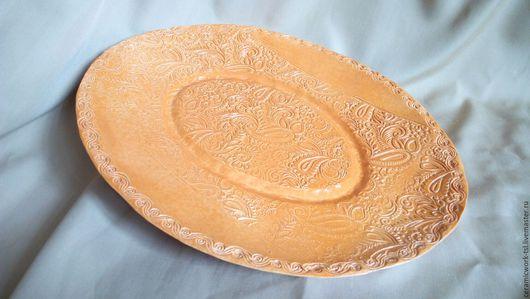 Декоративная посуда ручной работы. Ярмарка Мастеров - ручная работа. Купить Керамическое блюдо Кружевные Узоры. Handmade. Блюдо