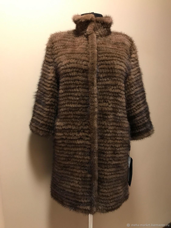 Пальто из вязаной норки «Елена» цвет орех.