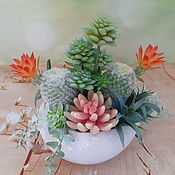 Цветы и флористика handmade. Livemaster - original item Composition of artificial succulents in pots. Handmade.