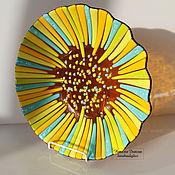 Посуда ручной работы. Ярмарка Мастеров - ручная работа Блюдо из стекла Золотой подсолнух, фьюзинг, 30 см. Handmade.