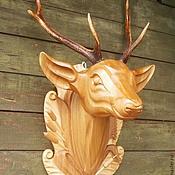Охотничий трофей (голова оленя из дерева   с натуральными  рогами )