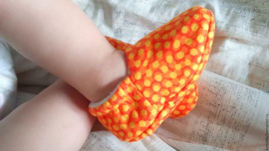 Обувь ручной работы. Ярмарка Мастеров - ручная работа. Купить Детские пинетки. Handmade. Рыжий, хлопок 100%, флис