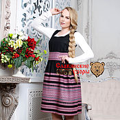 "Одежда handmade. Livemaster - original item Сарафан ""Любава"" чёрно-розовая миди. Handmade."