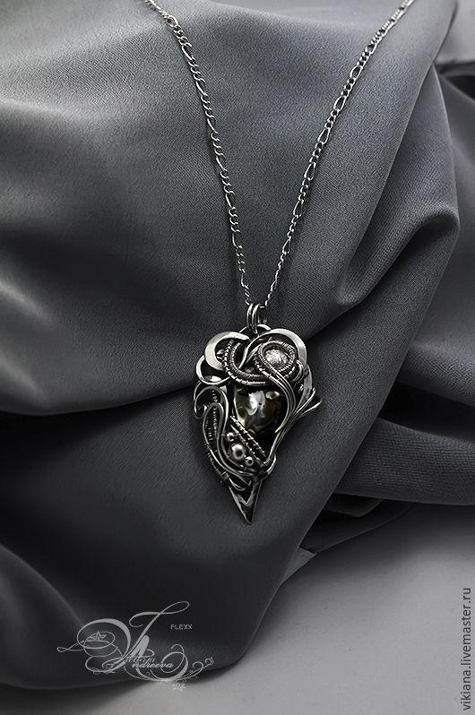 """Кулоны, подвески ручной работы. Ярмарка Мастеров - ручная работа. Купить Кулон """"Corvus"""" с яшмой природной. Handmade. Серебряный, необычный"""