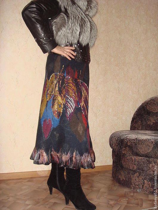 """Юбки ручной работы. Ярмарка Мастеров - ручная работа. Купить Теплая валяная юбка """"Ирландские мотивы"""". Handmade. Чёрно-белый"""