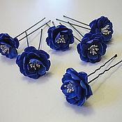 Свадебный салон ручной работы. Ярмарка Мастеров - ручная работа Шпильки синий махровый жасмин. Handmade.
